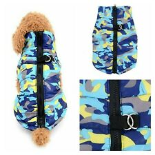XXS Chihuahua Teacup Camo Blue Padded Dog Pet Coat Clothes Puppy Water Wind