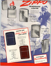 1951 PAPER AD 2 Sided Zippo Lighter Leather Cover Sports Town & Country Table