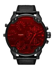 NEW DIESEL MR  DADDY 2.0 BLACK LEATHER STRAP RED DIAL CHRONO MENS WATCH DZ7402