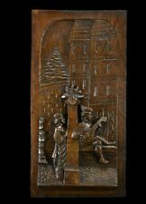 French Carved Wood Wall Panel Art Musician Romantic Chateau