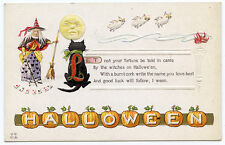 Halloween Witch Black Cat Owls Man in Moon JOL Border