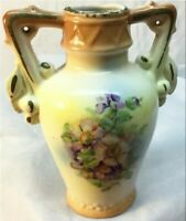 Vintage Made in Czechoslovakia Floral Double Handle Ceramic Porcelain Vase