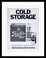 1971 Stroh's Beer Framed 11x14 ORIGINAL Vintage Advertisement