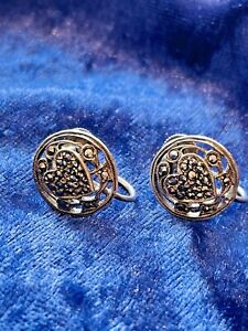 ANTIQUE ART DECO SILVER EARRINGS SCREW BACK FASTENINGS RARE COLLECTIBLE 1920S