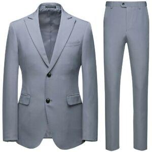 Men's Business Leisure 2PCS Suit Two Button Wedding Slim Fit Blazer Jacket Prom