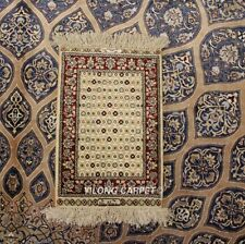 Yilong 1'x1.5' 400Lines All Over Area Rug Tapestry Handmade Silk Carpet 227H