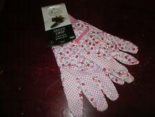 New Briers Ditzy Grip Cotton Grip Pink Floral Gardening Gloves - Size Medium