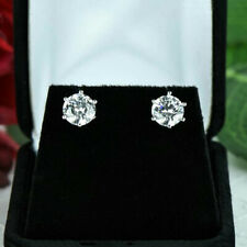 Round Cut 4.00 Carat Solitaire Diamond Stud Earring 14K Solid White Gold Studs