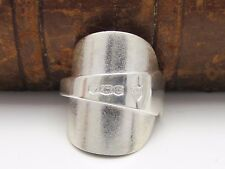 BEAUTIFUL CHUNKY TEXTURED SOLID STERLING SILVER SPOON RING - SIZE S
