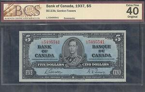 1937 $5.00 BC-23b BCS EF-40 * HIGH Grade George VI BEAUTIFUL Canada Five Dollars