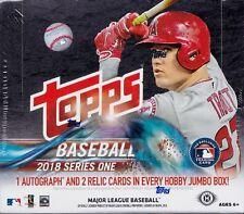 2018 Topps Series 1 Baseball HTA jumbo box 10 packs 50 MLB cards 2 silver pack