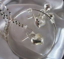 """STORK Giftset//STERLING SIL16""""""""chain+charms&patternd Bangle/boxd"""