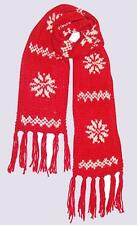 NEW Accessorize @ MONSOON LONG RED Chunky Knit Snowflake Tassel Fringe Scarf