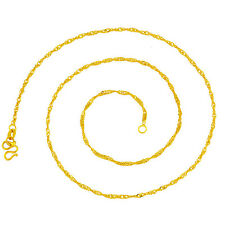 18K Gold Plated Necklace Pendant  Womens Unisex Singapore Chain Hook Clasp  G151