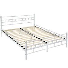Lit en métal design double 2 places cadre de lit sommier lattes 140x200cm blanc