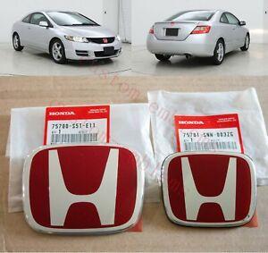 06-11 Honda Civic 2DR Coupe JDM RED H Type R - Front Rear Emblem 2PCS Set EX SI