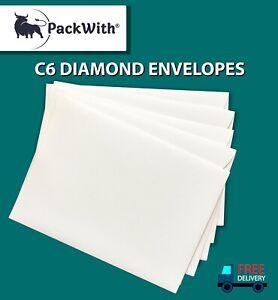C6 DIAMOND ENVELOPES GUMMED WHITE 100GSM PLAIN STRONG PAPER - C6L