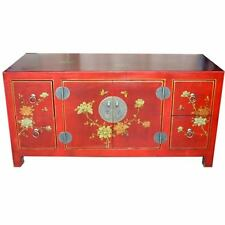 TV Cabinet/Low Sideboard - New Oriental Red Flower and Bird Painted (TC-1R)