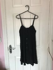 Black Motel Rocks Cami Slip Dress Lightweight Button Down Front Bloggers Sz 6-8