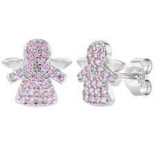 925 Sterling Silver Pink CZ Small Stud Guardian Angel Earrings Girls Kids