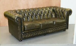 70'S CHESTERFIELD OLIVE GREEN LEATHER 3 SEATER SOFA WITH FEATHER FILLED CUSHIONS
