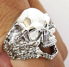 SKULL HAND BONE CLAW SILVER PLATED BRASS BIKER RING 7