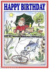 SLEEPING FISHERMAN ANGLERS FUNNY CARTOON HAPPY BIRTHDAY CARD FREE POST 1ST CLASS