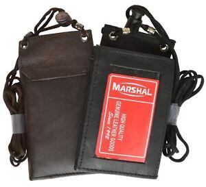 Genuine Leather ID Badge Holder Lanyard Credit Card Zip Bifold Holder Neck Strap