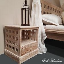 Balinese Hand Carved MIMI Teak Whitewash Bedside  Lamp Side Table Lattice