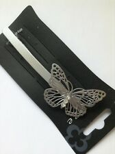 A Metal Matt Silver Simple Butterfly Design Barrette Hair Clip