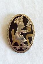 Vintage Mexico Sterling Mayan Warrior Inlaid Onyx Pin Pendant