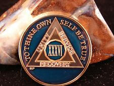 Blue Alcoholics Anonymous Aa 36 Year Medallion Token Coin Chip Sobrity Sober
