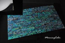 2 Sheets of Blue Paua Coated Enhanced Adhesive Veneer (MOP Shell Craft)