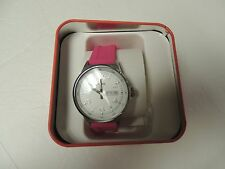 Fossil womans watch BQ1622 whitesilver face, bright pink resin band NWT & tin