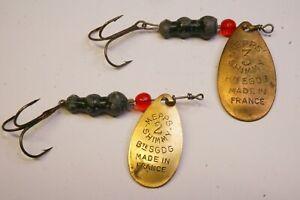 RARE leure ancien Cuiller MEPPS Shimmy 1940 N°3 et 2 vitange leure pas moulinet