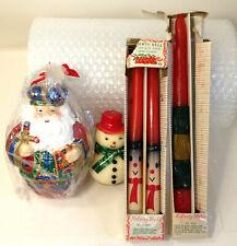 (5) Vintage Christmas Candles, Sticks, Santa and Snowman.