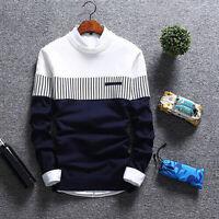 Men's Casual Round Neck Warm Strip Sweater Pullover Knitwear Jumper Coat Tops