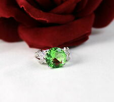 Sterling Silver Sparkling Green   Size 8.5  Ring  FERAL  CAT RESCUE