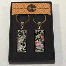 Korean Mother of Pearl His & Hers Key Ring Set with Butterfly and Peacock