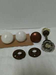 """Lot of 5! DOOR KNOBS  Brass, Metal &  Porcelain 2 CLEAR 2"""" 3 WITH STEMS Vintage"""