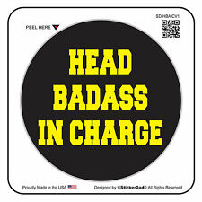 "HEAD BADASS IN CHARGE V1 (6 Pack) Hard Hat Printed Sticker (size: 2"" color:B/Y)"