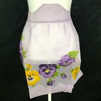 GORGEOUS Vintage Half Waist Apron Organdy Sheer Purple Pansy Hand Applique Retro