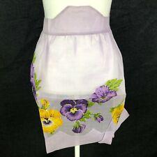 New listing Gorgeous Vintage Half Waist Apron Organdy Sheer Purple Pansy Hand Applique Retro