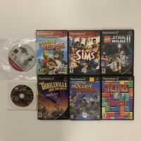 Lot Of 8 Sony PS2 Games Star Wars Thrillvile Sims Over The Hedge Indiana Jones