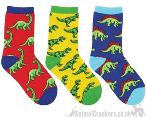Childrens Socksmith 'Dino-Mite' socks 3 PACK Dinosaur lover gift stocking filler