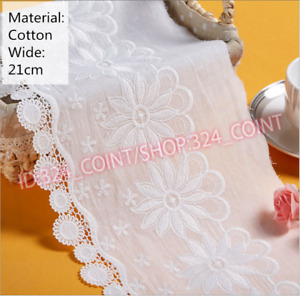 """H237 Embroidery Floral Cotton Lace Trim Ribbon Wedding Fabric Sewing 8.2"""" Wide"""