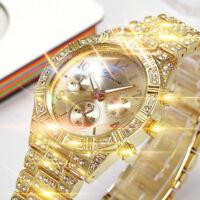 Women Fashion Stainless Steel Geneva Luxury Crystal Quartz Analog Wrist Watch