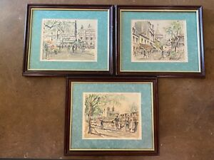 3 Framed Franz Herbelot Limited Edition Prints - Paris Street Scenes