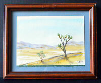1994 Signed Watercolor Painting Desert Landscape View Framed Wall Art