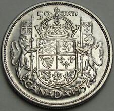 1957 50C Canada 50 Cents, Silver Canadian Half, Silver Half Dollar, #12576